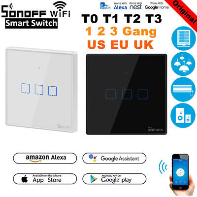 Sonoff 1 2 3 Gang Smart WiFi Panel Touch Wall Light Switch T1 T3 T0 UK EU Home