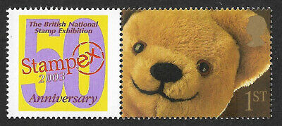 GB 1st class Teddy Bear Greetings stamp + Smilers label 50th Anniversary Stampex