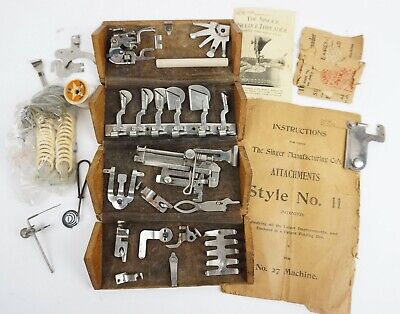 Antique Singer 27 Treadle Sewing Machine Attachments Wood Box w/ Manual Dovetail