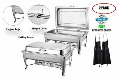 2 8Qt Chafing Dish Buffet Chafer With Hinged Dome S/Steel Food Warmer +2 Aprons