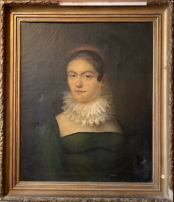 Late 18Th Century Large French Portrait Of Distinguished Young Lady - To Restore