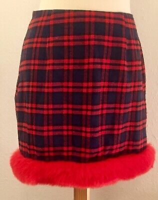 💝PRETTY LITTLE THING Red Tartan Christmas Skirt ONE OFF SAMPLE 10