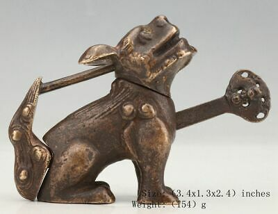 Antique Chinese Bronze Lock Statue Kirin F Dog Mascot Old Collection Gift