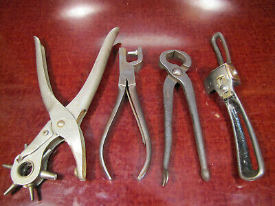 Antique Vtg Cobbler Leather Channeling Tools, Nippers Punches & Spoke-Shave.