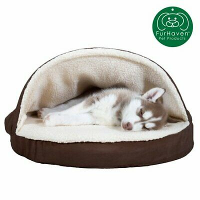 FurHaven Pet Dog Bed | Orthopedic Round Faux Sheepskin Snuggery Burrow Pet Bed