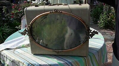 Antique Large Oval Copper? Frame with glass