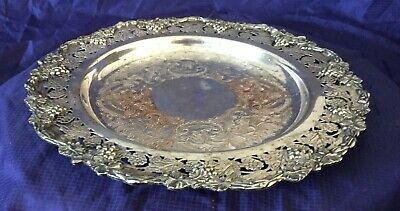 KO0006 Vtg Silverplate Round Serving Tray Grapevine Design