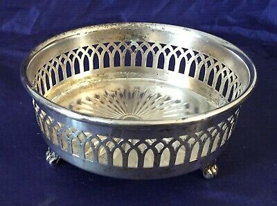 KO0008 Vtg BW Silverplate Footed Wine Bottle Coaster S.P. Copper