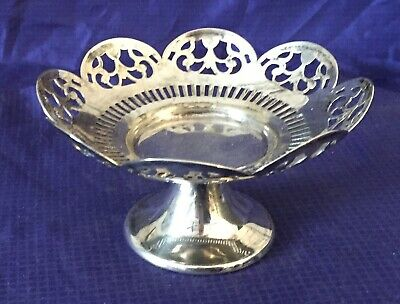 KO0009 Vtg Silverplate Footed Trinket Dish