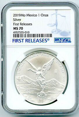 2019 Mo Mexico 1Oz Onza Silver Libertad Ngc Ms70 First Releases Blue Label
