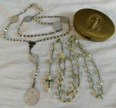 Vintage Set of 3 Mother of Pearl Beaded Rosary and Prayer Necklace in Brass Case