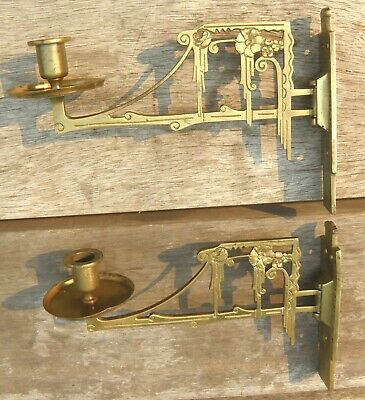 Pair Art Nouveau Brass Piano Sconces C. 1890 - 1910