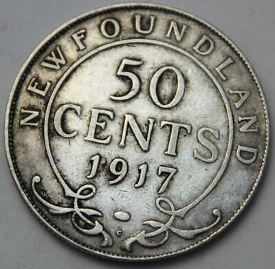 Newfoundland 1917 Silver 50 Cents, Old Date KGV