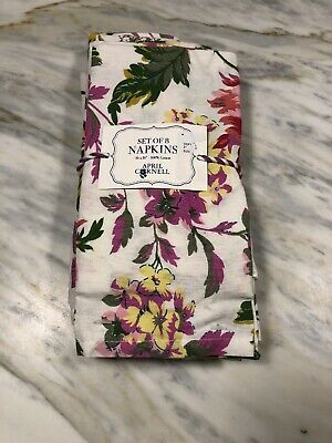 April Cornell - White Pink Green Yellow Floral - Napkins Set Of 8 - New