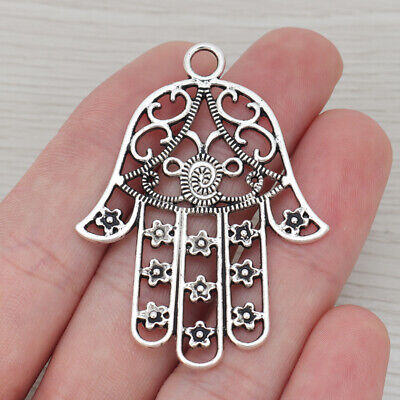 50 Tibet Silver Tone Hamsa Hand Pendants Connector Charm 22X14mm with 4mm Blank