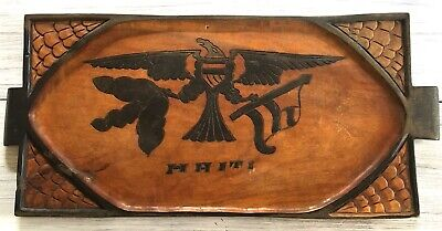 Vintage Folk Art Haiti American Eagle Tray Wall Hanging Sign Wooden Carved