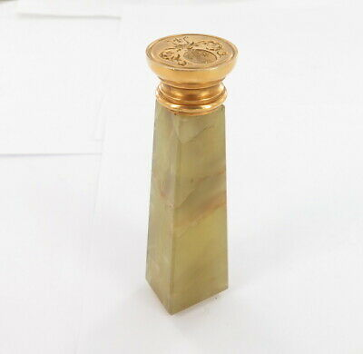 Stunning Antique Marcus & Co 14ct Gold COA & Green Onyx Intaglio Wax Seal Stamp