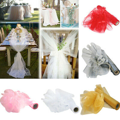 26m X 29cm Organza Roll Fabric Sheer Chair Sash Bows Wedding Party Table Runner