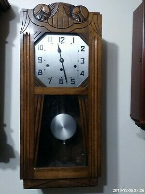 Vintage Mahogany Musical Westminster Chime Wall Clock Antique
