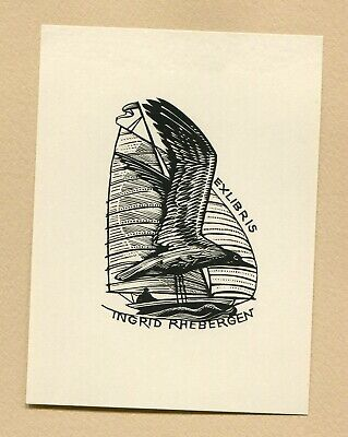 Ex libris by Lukavsky  Seagull and yacht