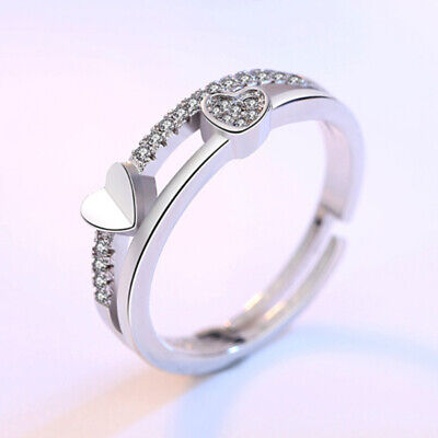 Women 925 Sterling Silver Ring Crystal Adjustable Ring Lady Engagement Gift UK