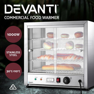 Devanti Commercial Food Warmer Pie Hot Display Showcase Cabinet Stainless Steel
