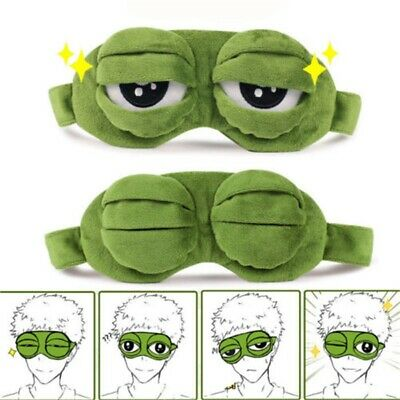 3D Frog Eye Mask Sleep Soft Padded Shade Cover Rest Relax Blindfold Travel Fun