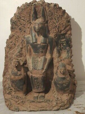 Rare Antique Ancient Egyptian Statue God Anubis BOOK Dead Canopic Jar1860-1780BC