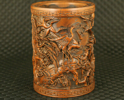 chinese old boxwood hand carved crane statue brush pot / vase collectable gift