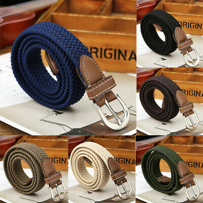 US STOCK Men Women Braid Leather Elastic Stretch Cross Buckle Pin Belt Waistband