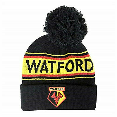 Watford FC Official Text Cuff Bobble Hat - Black