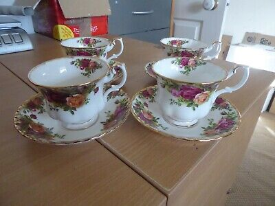 Royal Albert Old Country Roses 4 cups and saucers