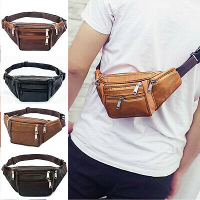 Mens Womens Genuine Leather Fanny Pack Pouch Waist Bag Slim Design Hiking Pouch