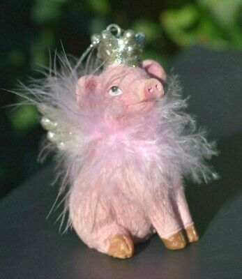 FANCY GIRL Pig Christmas Tree Ornament  Ostrich Feather Boa Silver Wings-Crown