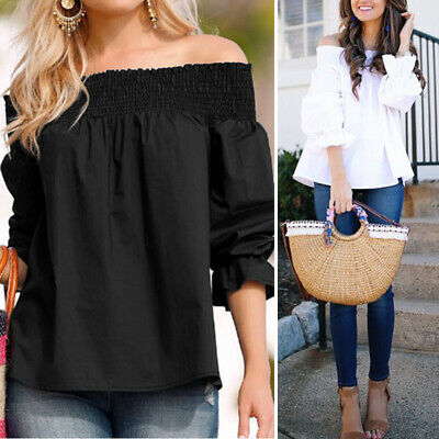 Ladies Women Summer Loose Casual Off Shoulder Shirt Tunic Tops Blouse Bowknot