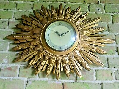 Art Deco Smiths Sunburst Starburst Clock   Battery Wall Clock