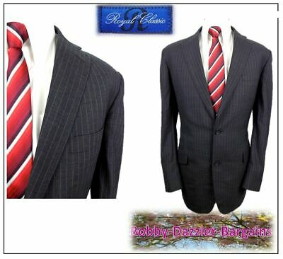 """Tom James Royal Classic Mens suit Ch42""""R W36"""" L33"""" Charcoal stripe Hand Tailored"""
