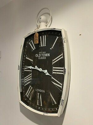 Heavy White Hanging Old Town Clock LARGE shabby chick Wall Clock rrp £229