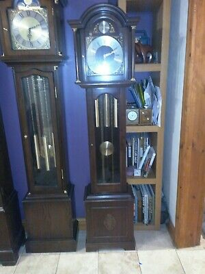 antique longcase grandfather clock weight driven Westminster chimes