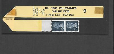 Machin - 17p  UL 1000 coil leader +  strip of 5 stamps - roll 9 - unmounted mint