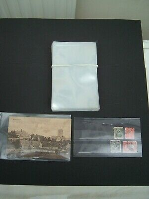 """50 Clear Plastic Stamp  / Postcard Sleeves Wallets 6"""" x 4"""". FREE UK Post"""