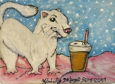 ACEO White Ferret Drinking a Snowflake Mocha Art Print 2.5x3.5 Signed by Artist