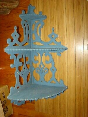 VINTAGE FARMHOUSE wood COOKIE CUTTER SHABBY 3  level CARVED CORNER SHELF CHIC