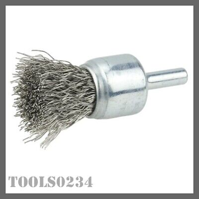 "Weiler 10019 3/4"" Crimped Wire Cup Brush - .014"" - Stnls Steel Fill - 3/4"" Stem"