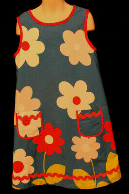 mini Boden red blue white pink floral sleeveless lined dress girls 9-10Y