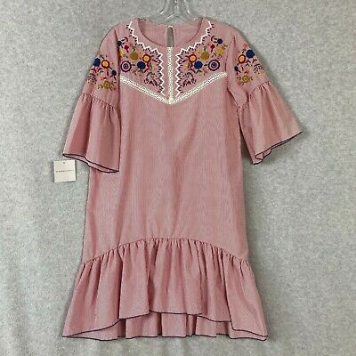 Goodnight Macaroon House Dress Red Striped Floral Embroidered Size Large