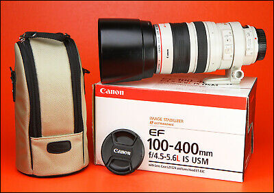Canon EF 100-400mm F4.5-5.6 L IS USM Zoom Lens.With Both Caps, Hood & Case & Box
