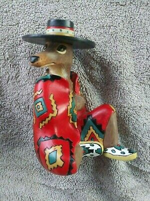 "Robert Shields Red Trickster Coyote Figurine, 5"" Tall, Hand Signed Pen"