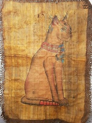 Rare Antique Ancient Egyptian papyrus God Bastet Cat Protection scarb1620-1530BC