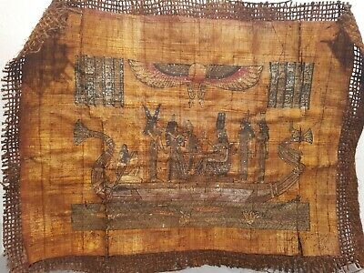 Rare Antique Ancient Egyptian Papyrus Queen Nefertiti Boat River Fish1353–1336BC